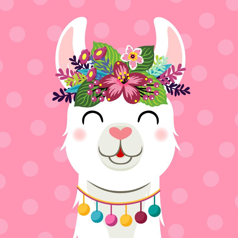 Verjaardagskaarten - Verjaardagskaart met lama bloemenkroon
