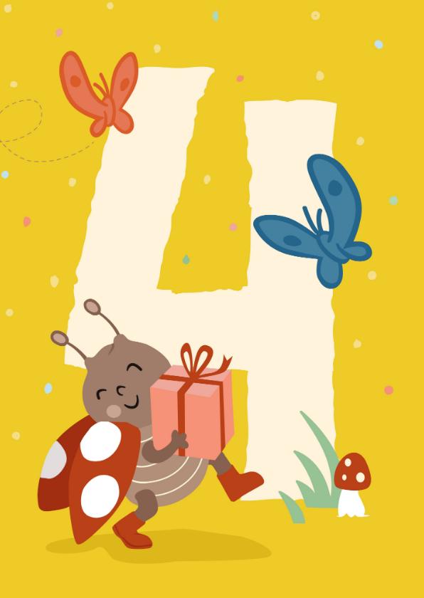 Verjaardagskaarten - Verjaardagskaart met lieveheersbeestje - 4 jaar