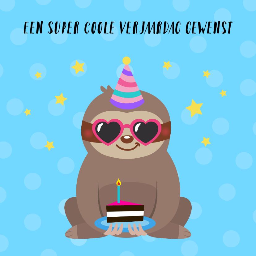 Verjaardagskaarten - Verjaardagskaart met luiaard en taart