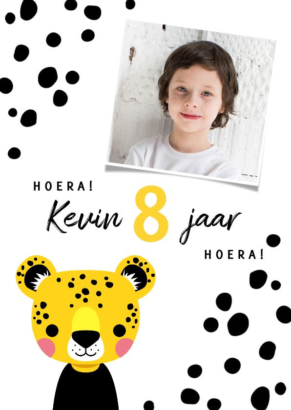 Verjaardagskaarten - Verjaardagskaart met luipaard en vlekjes