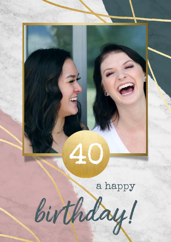 Verjaardagskaarten - Verjaardagskaart met marmer, verf en gouden lijnen