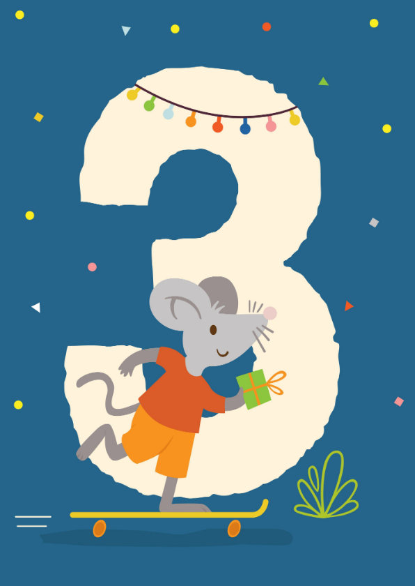 Verjaardagskaarten - Verjaardagskaart met muis - 3 jaar