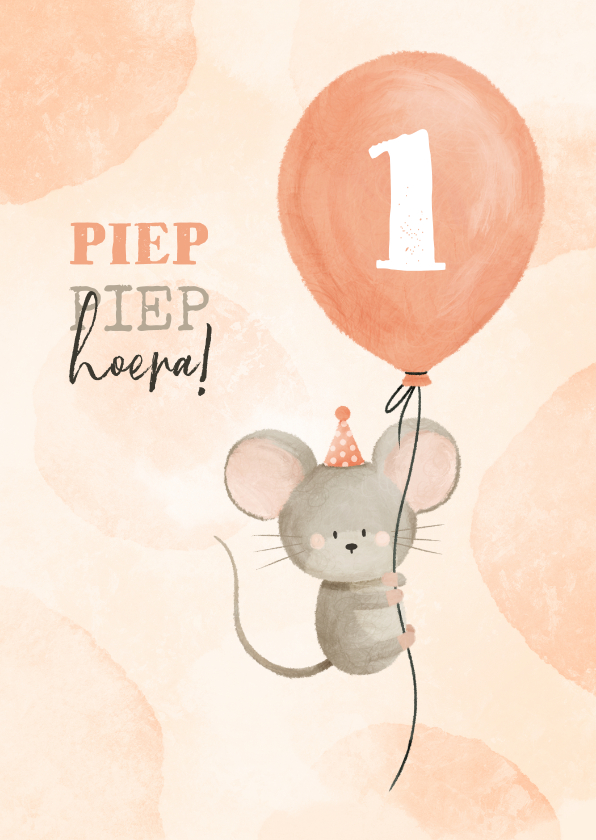 Verjaardagskaarten - Verjaardagskaart met muisje aan ballon 1 jaar