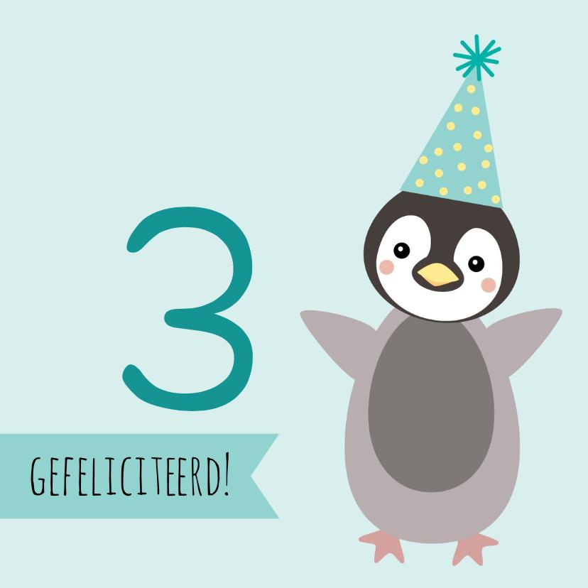 Verjaardagskaarten - Verjaardagskaart met pinguïn met feesthoed