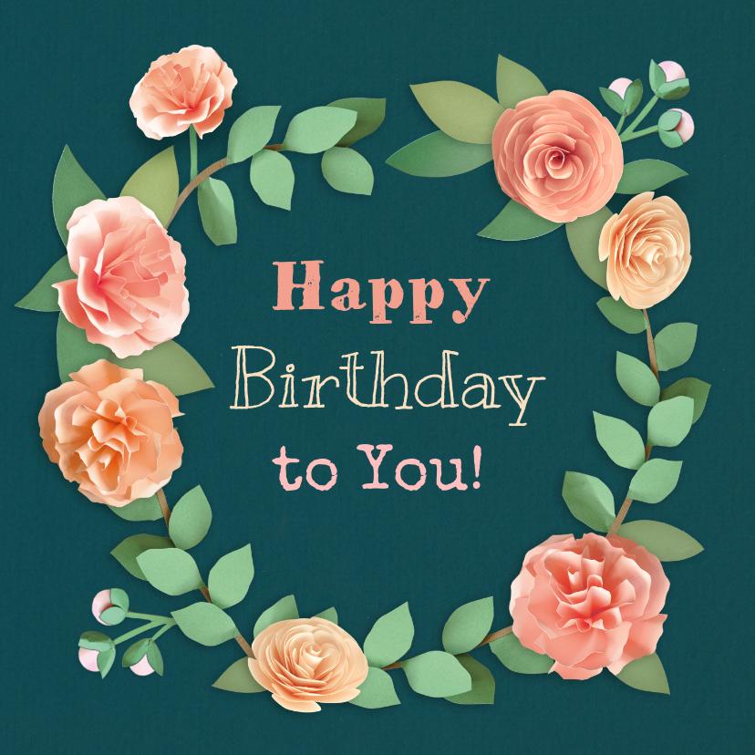 Verjaardagskaarten - Verjaardagskaart met pioenrozen