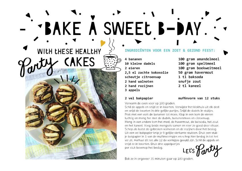 Verjaardagskaarten - Verjaardagskaart met recept cakejes