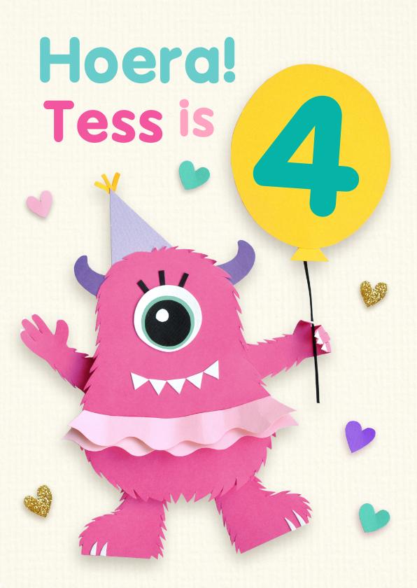 Verjaardagskaarten - Verjaardagskaart met roze monster