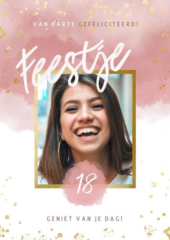 Verjaardagskaarten - Verjaardagskaart met roze waterverf, gouden spetters 18 jaar