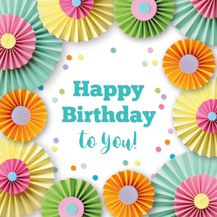 Verjaardagskaarten - Verjaardagskaart met rozetten en confetti