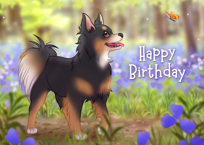 Verjaardagskaarten - Verjaardagskaart met schattige chihuahua en vlinder