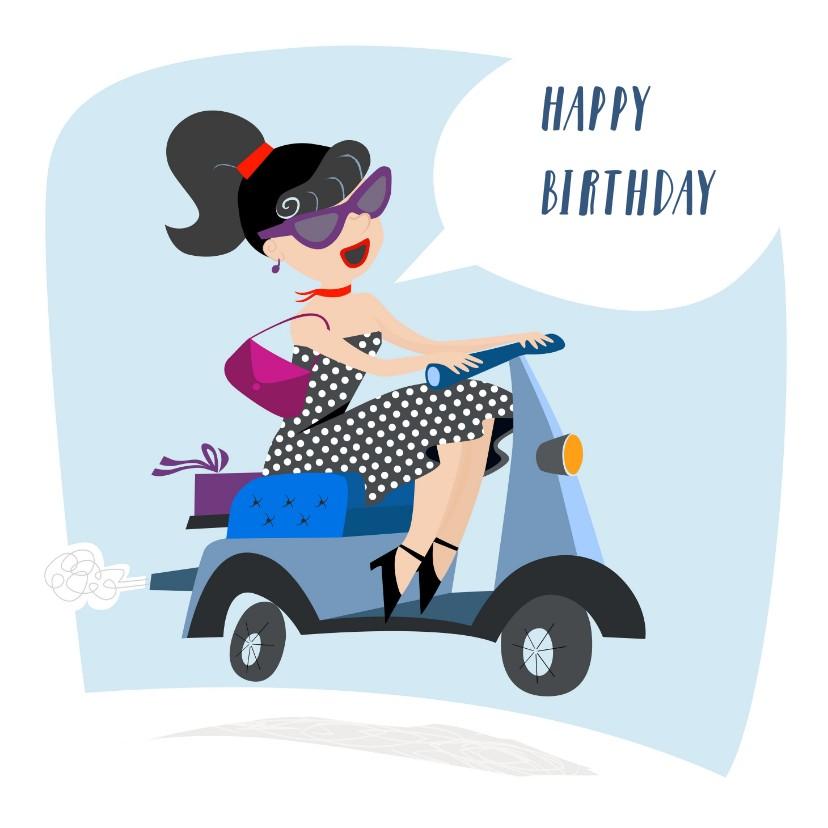 Verjaardagskaarten - Verjaardagskaart met scooter
