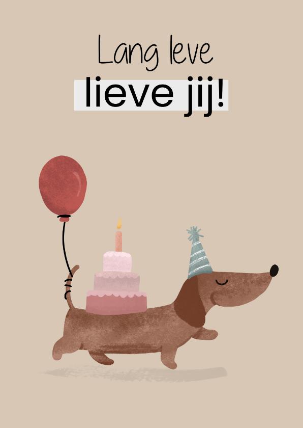 Verjaardagskaarten - Verjaardagskaart met teckel