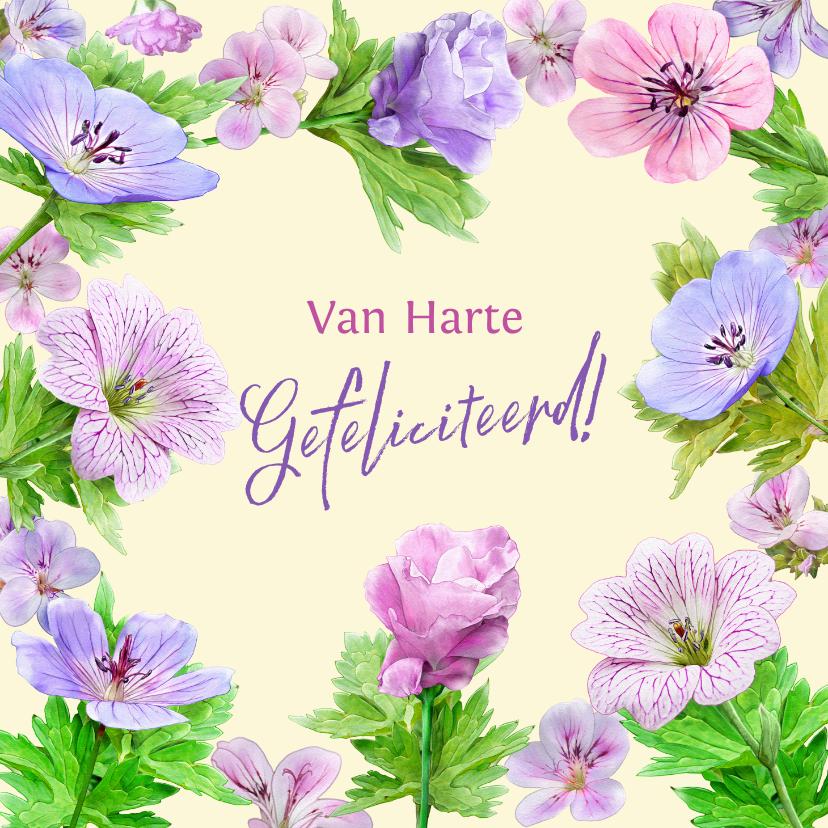 Verjaardagskaarten - Verjaardagskaart met tekening van blauwe en roze bloemen