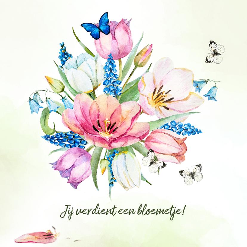 Verjaardagskaarten - Verjaardagskaart met tulpenboeket