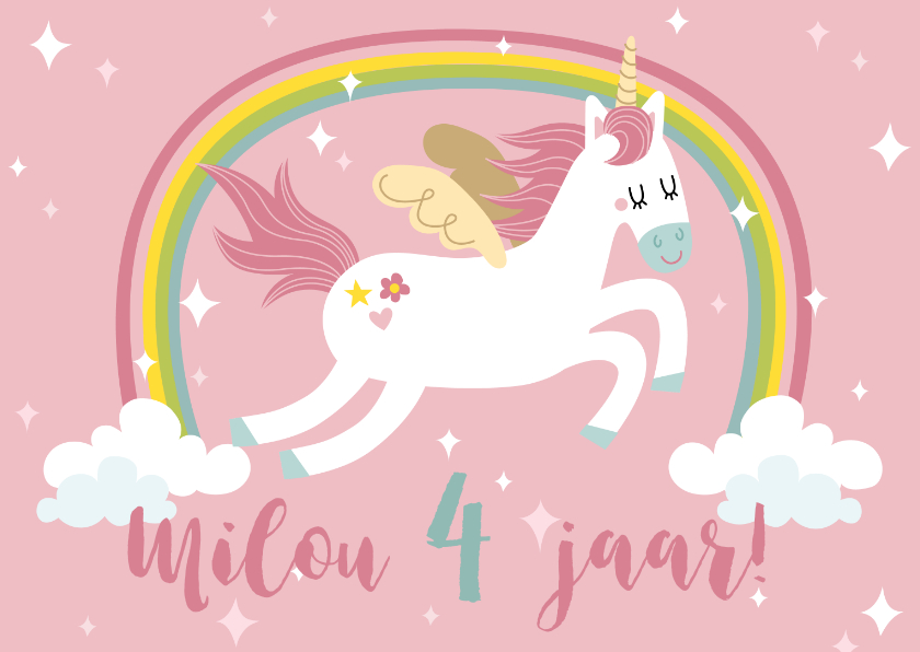 Verjaardagskaarten - Verjaardagskaart met unicorn en regenboog
