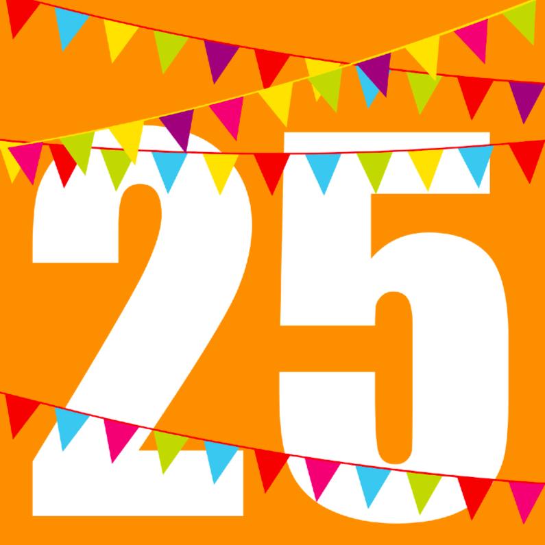 Verjaardagskaarten - Verjaardagskaart met vlaggen 25 jaar