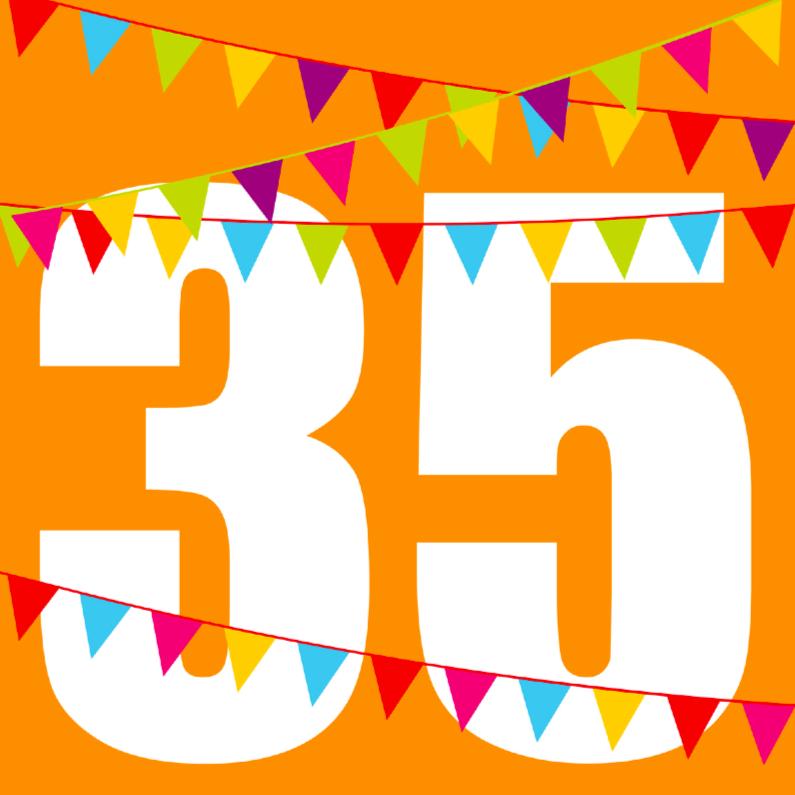 Verjaardagskaarten - Verjaardagskaart met vlaggen 35 jaar