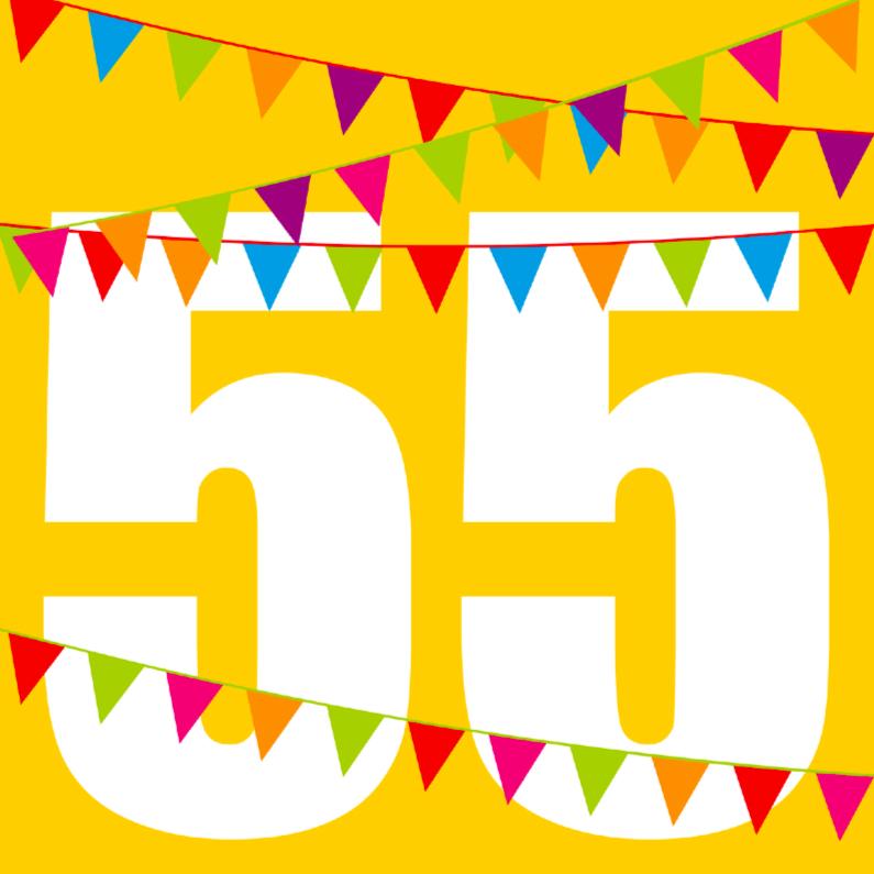Verjaardagskaarten - Verjaardagskaart met vlaggen 55 jaar