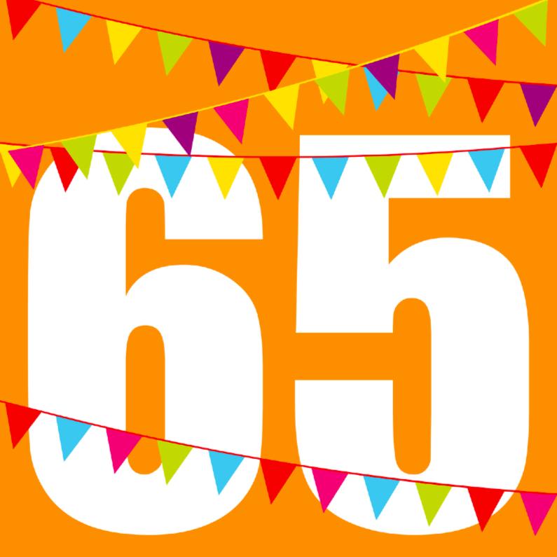 Verjaardagskaarten - Verjaardagskaart met vlaggen 65 jaar