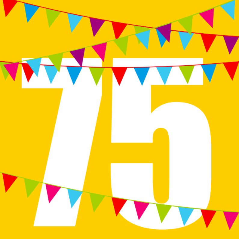 Verjaardagskaarten - Verjaardagskaart met vlaggen 75 jaar