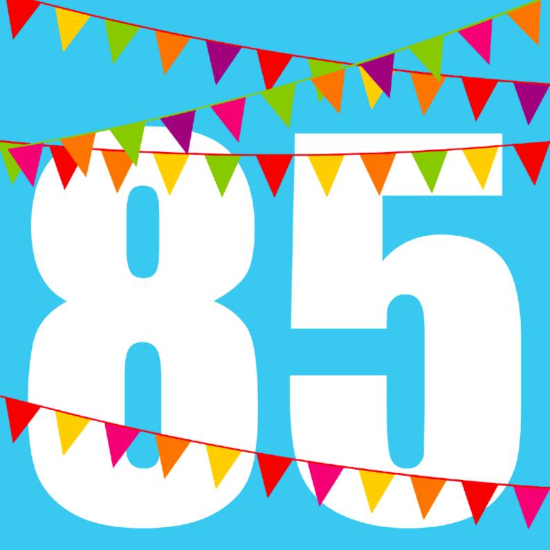 Verjaardagskaarten - Verjaardagskaart met vlaggen 85 jaar