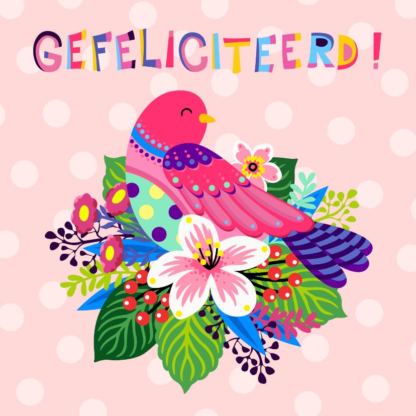 Verjaardagskaarten - Verjaardagskaart met vogel op bloemen