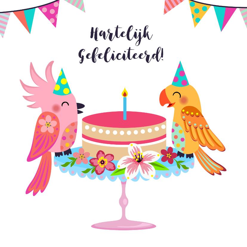 Verjaardagskaarten - Verjaardagskaart met vogels en taart
