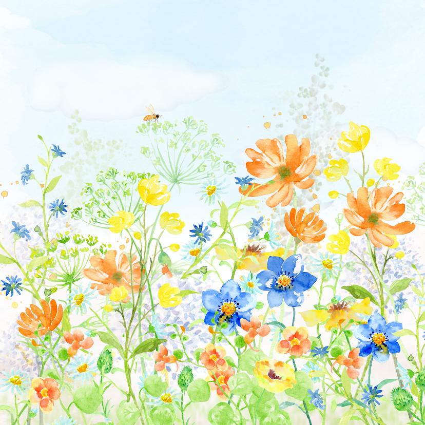 Verjaardagskaarten - Verjaardagskaart met vrolijk gekleurde zomerbloemen