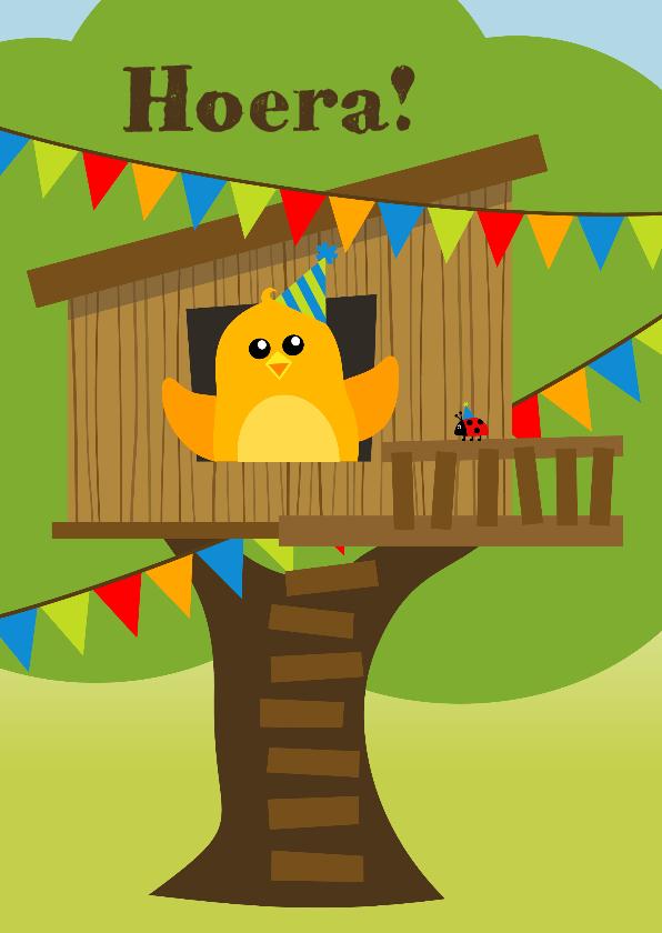 Verjaardagskaarten - verjaardagskaart met vrolijk oranje vogeltje in boomhut