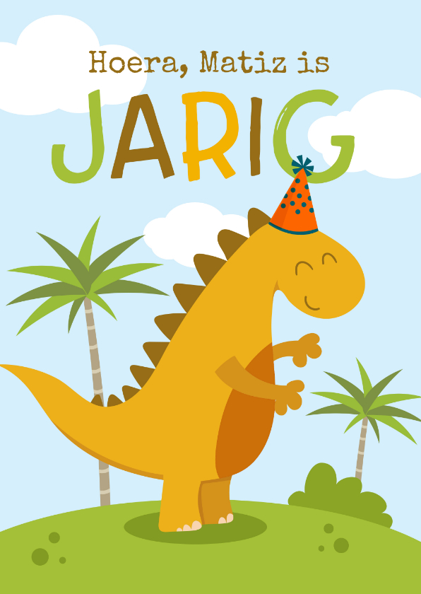 Verjaardagskaarten - Verjaardagskaart met vrolijke dino