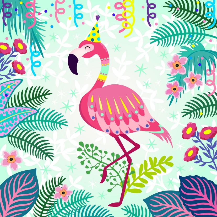 Verjaardagskaarten - Verjaardagskaart met vrolijke flamingo, slingers en bloemen