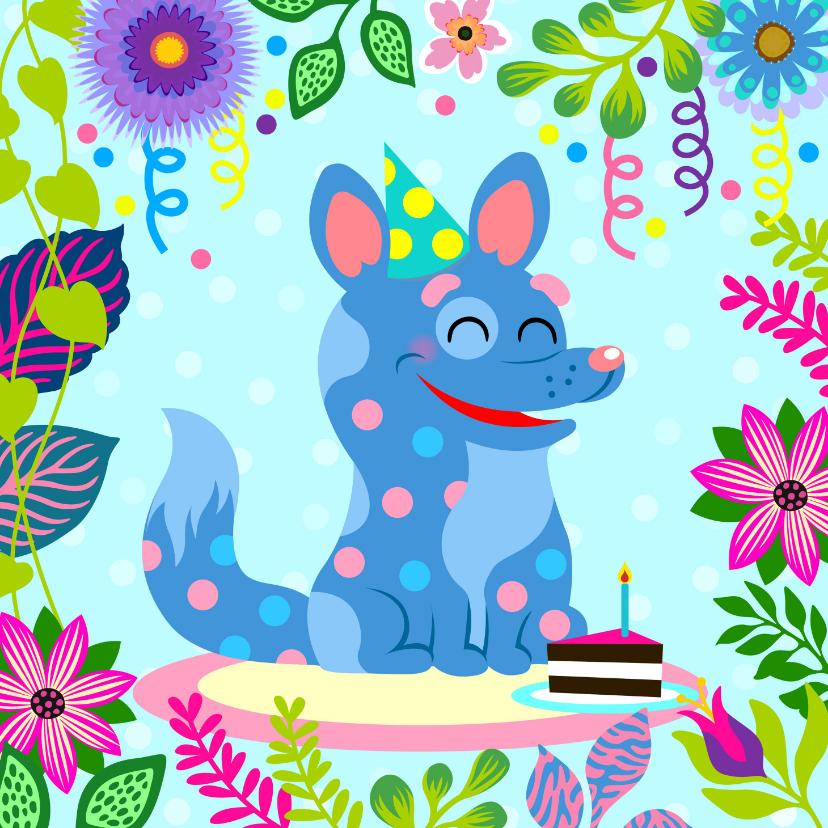 Verjaardagskaarten - Verjaardagskaart met vrolijke hond, slingers en taart