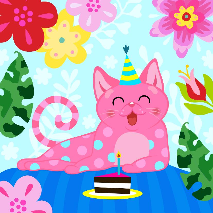 Verjaardagskaarten - Verjaardagskaart met vrolijke kat, bloemen en taart