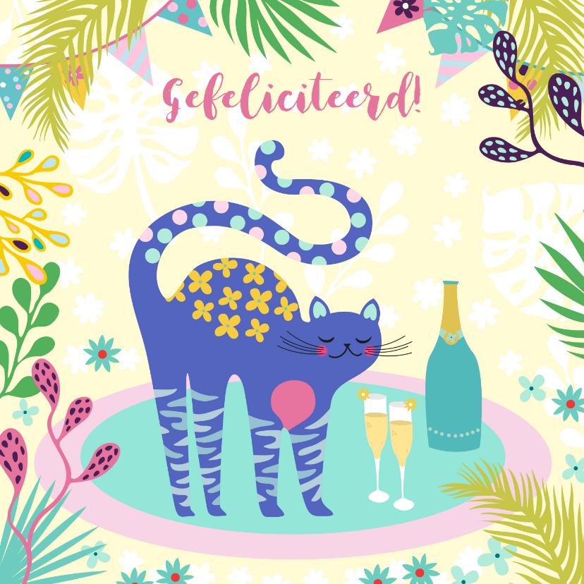 Verjaardagskaarten - Verjaardagskaart met vrolijke kat, champagne en planten