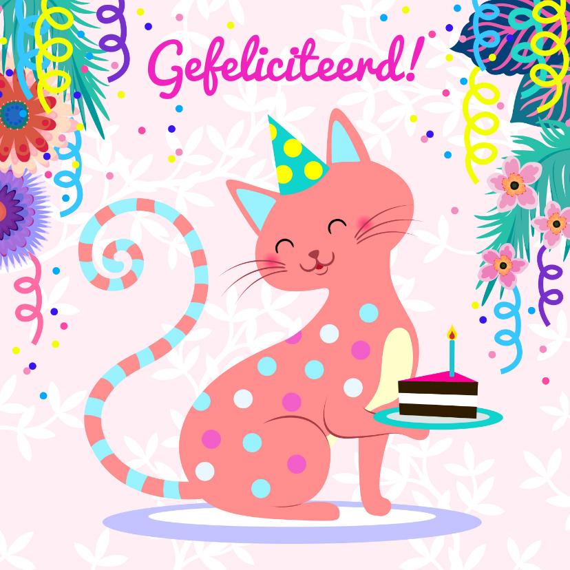Verjaardagskaarten - Verjaardagskaart met vrolijke kat en slingers
