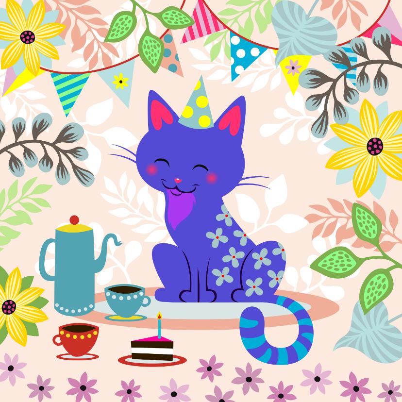 Verjaardagskaarten - Verjaardagskaart met vrolijke kat, koffie en taart
