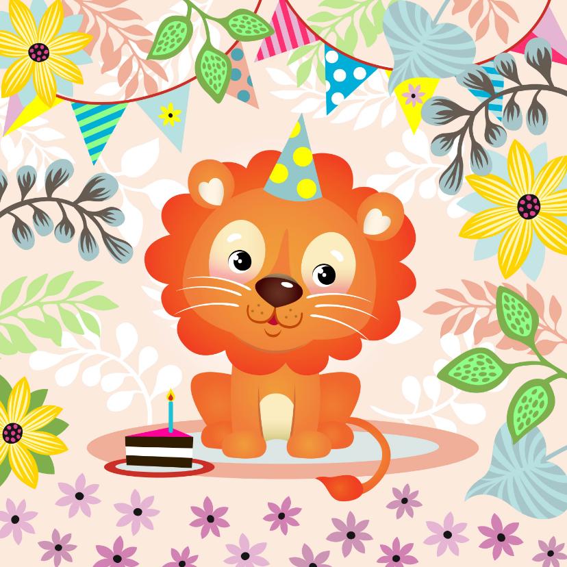 Verjaardagskaarten - Verjaardagskaart met vrolijke leeuw