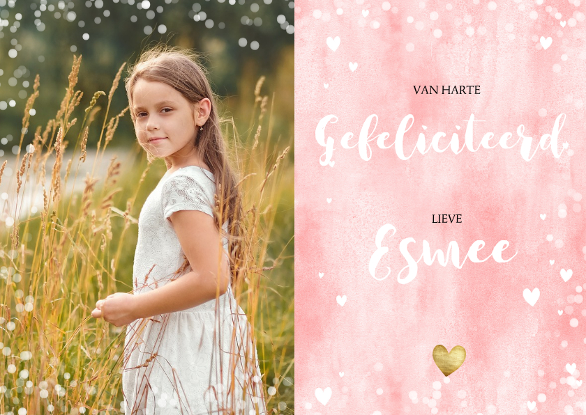 Verjaardagskaarten - Verjaardagskaart met waterverf, hartjes en grote foto