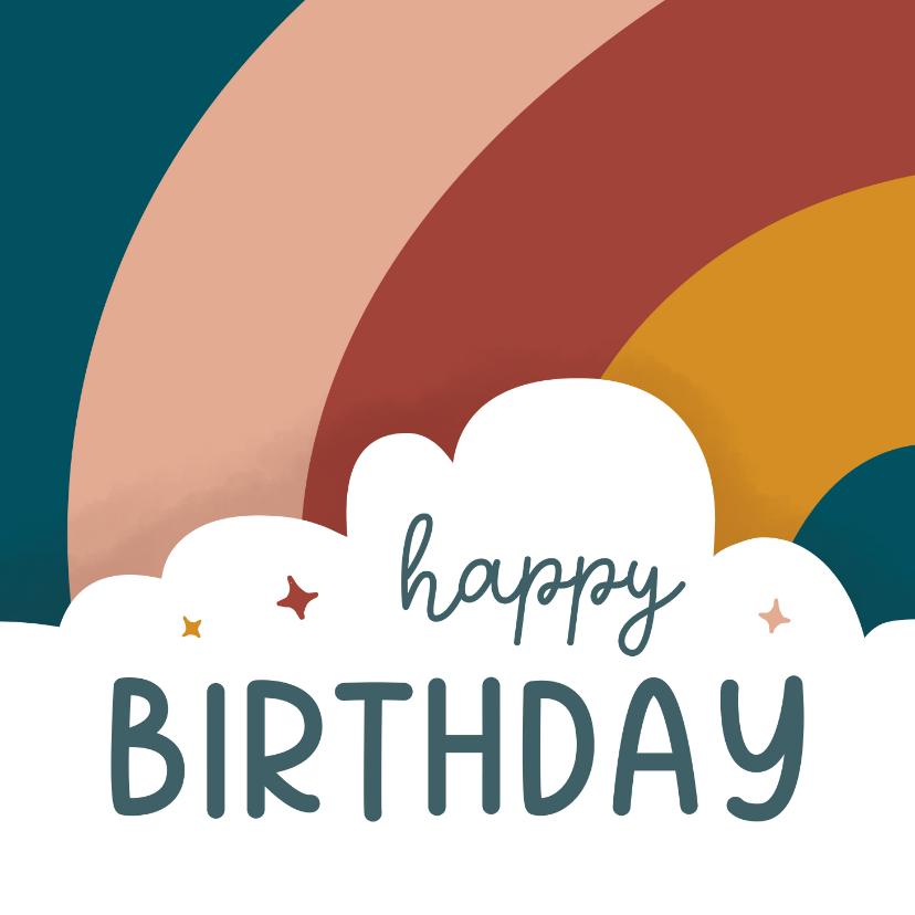 Verjaardagskaarten - Verjaardagskaart met wolk en regenboog