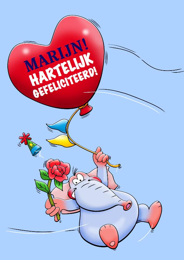 Verjaardagskaarten - Verjaardagskaart met zwevende olifant en ballon als hart