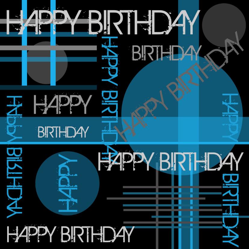 Verjaardagskaarten - Verjaardagskaart modern typografie blauw