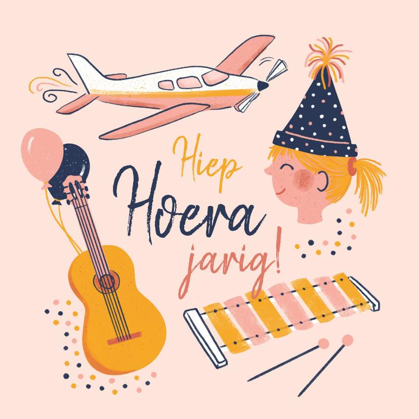 Verjaardagskaarten - Verjaardagskaart muziek en vliegtuig