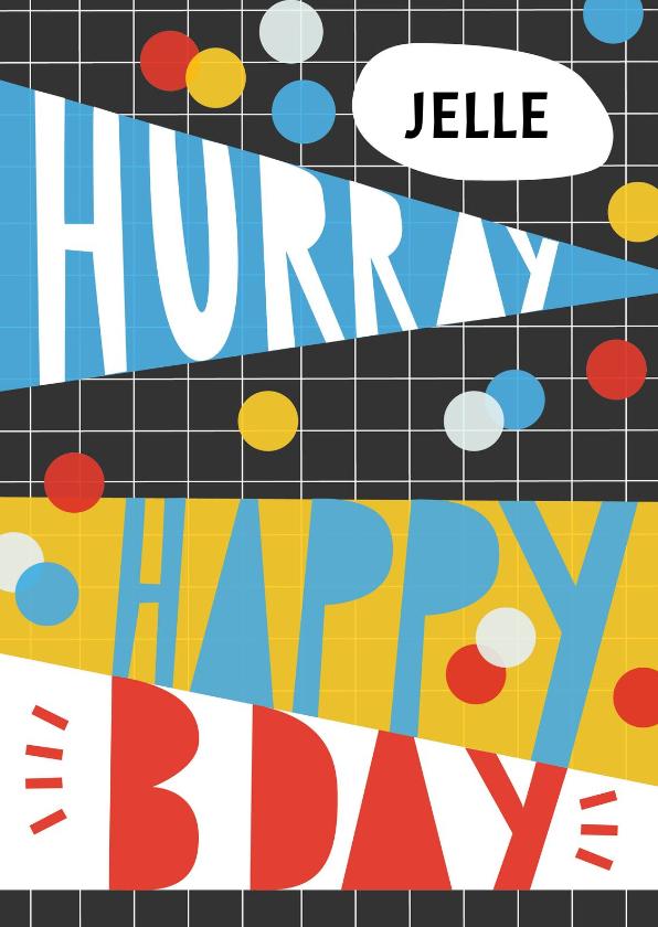 Verjaardagskaarten - Verjaardagskaart NAAM Hip hurray happy bday