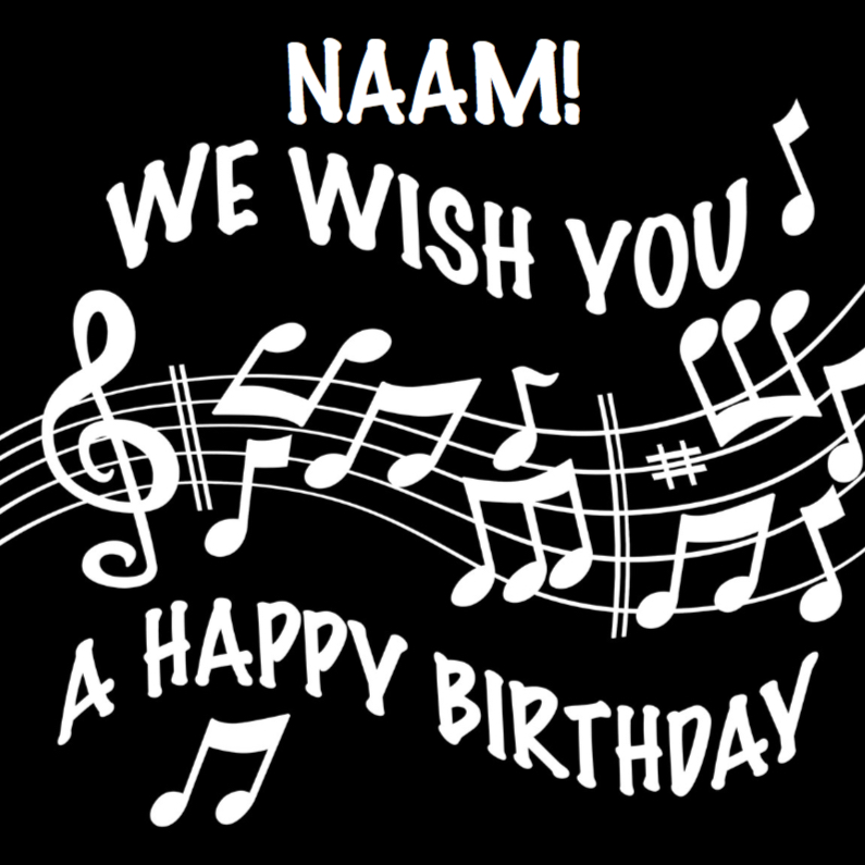 Verjaardagskaarten - Verjaardagskaart notenbalk We wish You a Happy Birthday