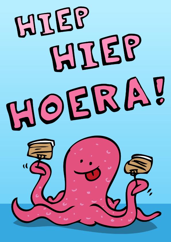 Verjaardagskaarten - Verjaardagskaart Octopus met Taart