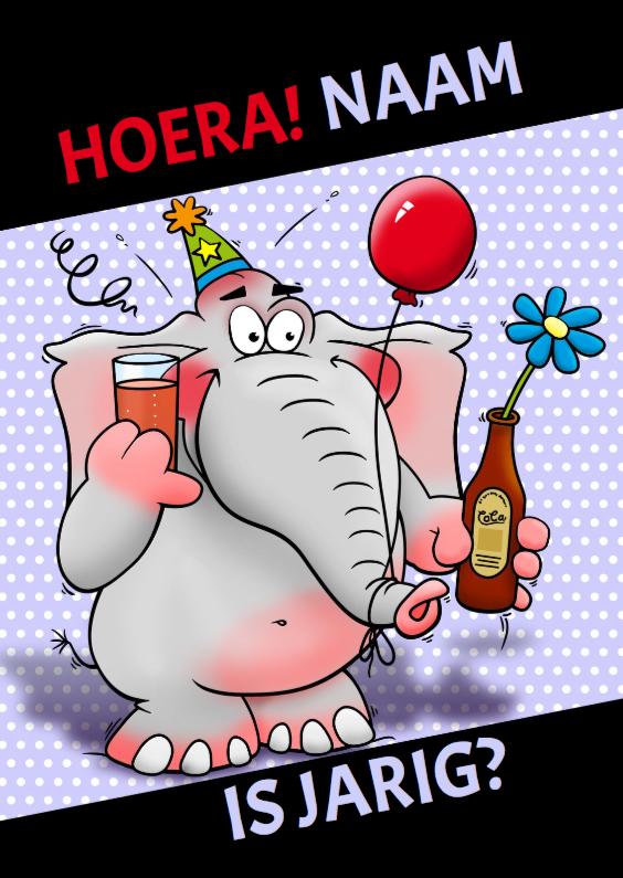 Verjaardagskaarten - Verjaardagskaart olifant cola