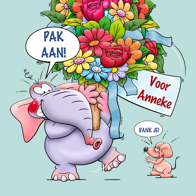 Verjaardagskaarten - Verjaardagskaart olifant en hele grote bos bloemen
