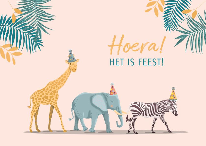 Verjaardagskaarten - Verjaardagskaart olifant giraf en zebra meisje