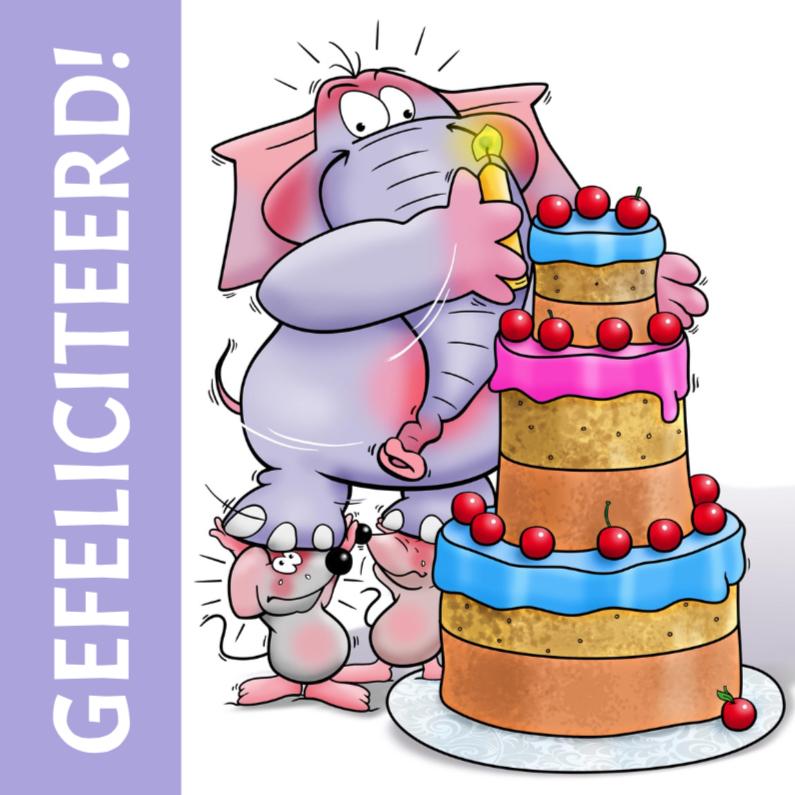 Verjaardagskaarten - Verjaardagskaart olifant taart