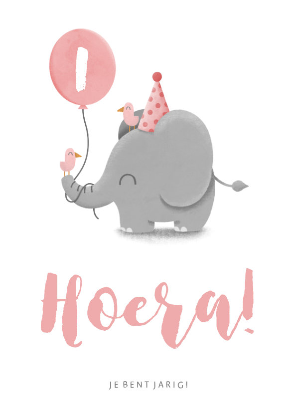 Verjaardagskaarten - Verjaardagskaart olifantje met ballon en vogels